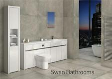 WHITE / WHITE GLOSS BATHROOM FITTED FURNITURE WITH TALL UNIT 2500MM