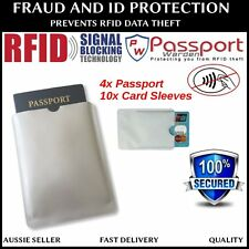 4x Passport and 10x Card RFID Blocking Identity Theft Protection SLEEVES AUS