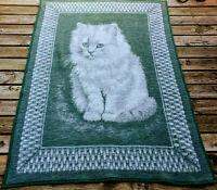 "Biederlack Blanket Cat Kitten Throw White Green Approx 53"" x 77"" Rare Germany"