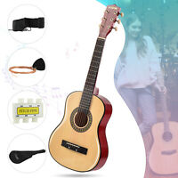 Beginners Acoustic Guitar with Guitar Case Strap Tuner Pick Steel String Natural