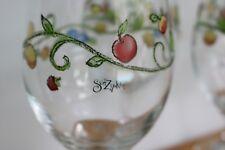 "Sango SANGRIA Set of 4 Wine Glass Goblets Fruit Pattern 9 "" Tall 16 oz"