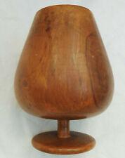 "Vintage goblet vase made of wood 6"" tall ornamental wooden ware home decor"