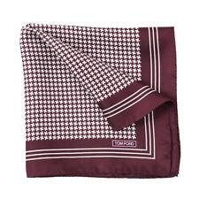 New $180 TOM FORD Plum Burgundy Houndstooth Check Print Silk Pocket Square
