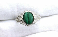 Malachite Cab Cabochon Gemstone Gem Stone Sterling Silver Casted Ring Size 7