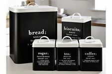 5Pc Black White Kitchen Storage Set Bread BinTea Coffee Canisters Tins