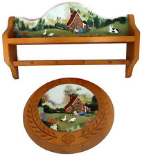 Set Handpainted Country Decor Wood Shelf w Pegs & Matching Round Wood Wall Plate