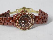 Isaac Mizrahi  Terra-Cotta & Goldtone Ceramic Link Watch Women's