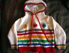 12M 18m  BOYS/GIRLS Vtg 70s Acrylic KNit Wards Zipback Hoody Rainbow Sweater