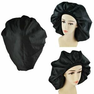 Large Night Sleep Cap Hair Bonnet Hat Head Cover Satin Wide Adjust Elastic Band