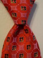 ERMENEGILDO ZEGNA Men's 100% Silk Necktie ITALY Luxury Geometric Pink/Green EUC