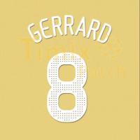 Name + Number Set Print Gerrard 8 2008 2010 Premier League Liverpool Home White
