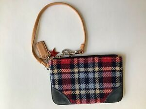 COACH Plaid Tweed Wool Wristlet With Leather Trim, When You Want To Travel Lite