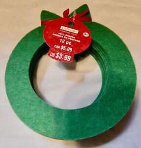 "Felt Shapes Christmas Wreath's 12pc 6"" x 5 1/4"" Kid's Craft's Creatology 3+ 212F"