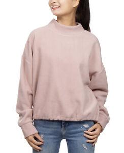 Hippie Rose Juniors' Mock-Neck Fleece Bungee-Hem Sweatshirt Mauve Size XL