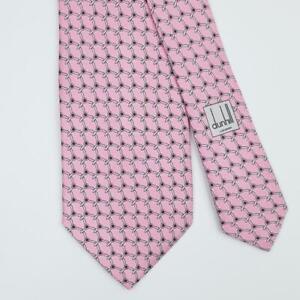 DUNHILL TIE Propeller on Pink Skinny Silk Necktie