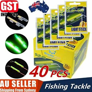 40pcs Fluorescent Fishing Rod Glow Clip-on Lights Sticks Fishing Tackle M/L AU