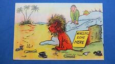 Vintage Comic Postcard 1900s PITH HELMET Soldier Man Eating Lion Theme