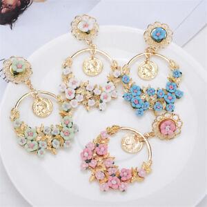 Women Summer Style Big Circle Flower Shape Pearl Rhinestone Drop Earrings C