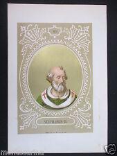 1879 PAPA STEFANO II STEPHANUS II ANTICA STAMPA CROMOLITOGRAFIA PAPI POPE D248 m