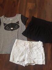 3 piece girls lot CAT SHIRT white linen shorts BLACK SKIRT gray SUMMER size 6