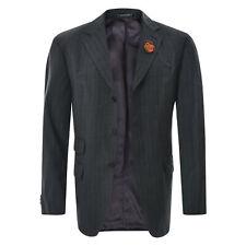 CARACCIOLO BY LORO PIANA Men's Blazer Jacket Size 50R Dark Grey Striped Wool