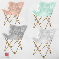 Comfy White Faux Fur Butterfly Folding Chair Seat Teen Dorm Bedroom Furniture