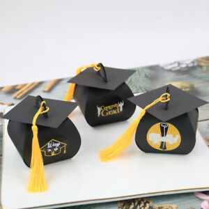 24pc/lot Graduation Gift Box for Packaging Bachelor Academic Cap Shape Candy Box