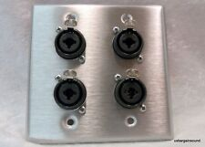 "Stainless Steel Wall Plate with Four Neutrik NCJ6FI-S Combo XLR/1/4"" Connectors"