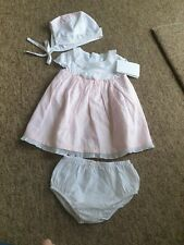 NEW Mayoral pink white dress, nappy pants and hat age 6-9 months