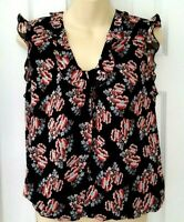Lark & Ro Womens Top Size XS Floral Ruffle V Neck Chiffon Blouse Sleeveless New