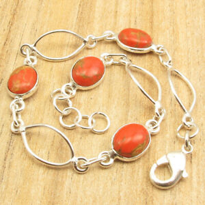 """925  Silver Plated ORANGE COPPER TURQUOISE Beautiful HANDCRAFTED Bracelet 7.9"""""""