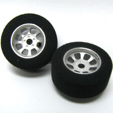 H&R Racing HR1104 Nascar Front Silver Narrow Wheel w/Foam Tire (2) 1:24 Slot Car