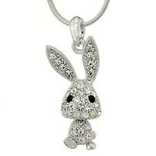 Bunny Necklace Made With Swarovski Crystal Rabbit Cute New Pendant Jewelry