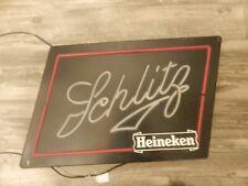 """Schlitz Heineken 1982 Vintage Neon Light Up Beer Sign 19"""""""