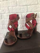 New LOUIS VUITTON Leather Passenger Sandals Heels Shoes Size 4/34.5