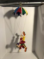 "Vtg Paper Mache Clown Hanging Parachute Rainbow Folk Art 1970s Mexico 28"""