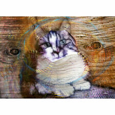"Aceo Art Card Forest Cat Print (2.5"" x 3.5"") Norwegian Wood - Signed By Artist"