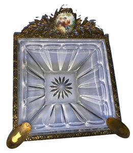 French White 1800's Glass Ashtray Gilt Bronze Ormolu Beaded Rim Antique ArtDeco