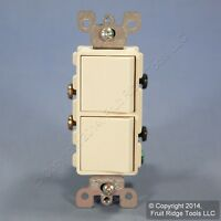New Leviton 5634-T Light Almond Decora Dual 1-Pole Rocker Wall Light Switch 15A
