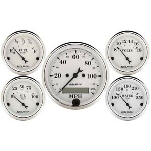 AutoMeter 1602 Old-Tyme White 5 Piece Gauge Set,Elec. Speedometer