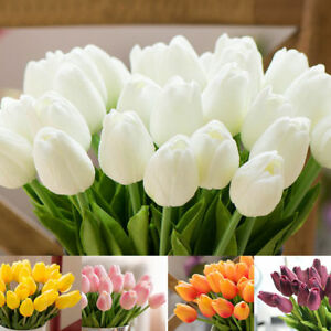 20Pcs Artificial Fake Flower Real Touch Tulips Bouquet Home Bridal Wedding