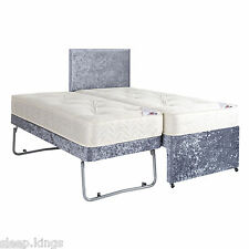 3ft Single Guest Bed 3 in 1 With Trundle, Mattresses & Headboard In Slate Velvet