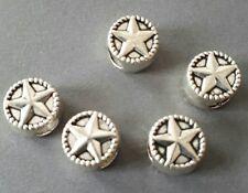 6pcs-10mm big hole silver tone star beads, silver big hole European beads