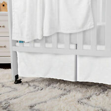 "White Crib Skirt Pleated Soft Short Plush Fleece Minky with 3D Embossed 52""X28"""
