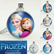 FROZEN PENDANT Silver Plated CHAIN NECKLACE ROYAL PRINCESS Anna & Elsa