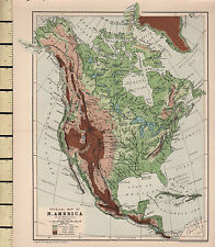 c1880 VICTORIAN MAP ~ NORTH AMERICA PHYSICAL ~
