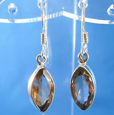 Yellow Citrine Faceted Marquis .925 Sterling Silver Earrings