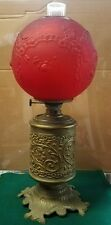 Antique Victorian Oil Lamp Ornate Brass Base-Red Satin Glass Globe w/ Roses RARE