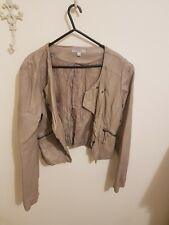 Temt Womens Faux Leather Beige Jacket Size 10