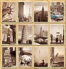 Travel Postcard Vintage Photo Leaning Eiffel Tower Goddess Big Ben